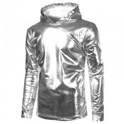 Glanzende hoodie in metallic goud en zilver