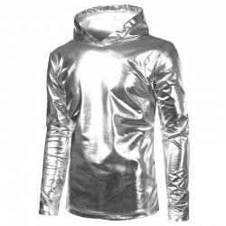 Shiny metallic gold & silver hoodie