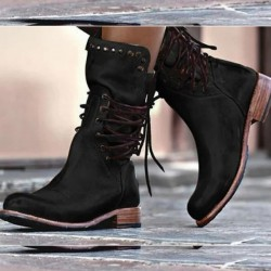 Leather winter boots with back lacing & zipper