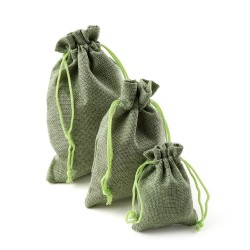 Linen Christmas gift bags with drawstring 10 pieces