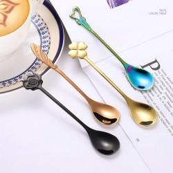Heart & flower shape stainless steel spoon for tea & desserts