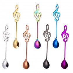 Decorative spoon with music note for tea & coffee & desserts - stainless steel