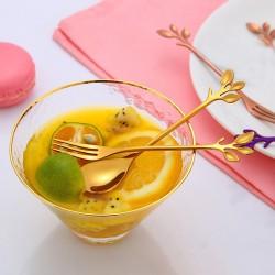 Leaf shaped handle - tea spoon & fork for tea - coffee & desserts