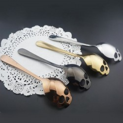 Skull shaped stainless steel spoon for tea & coffee & desserts