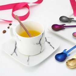 Stainless steel teaspoon with guitar for tea & coffee & desserts