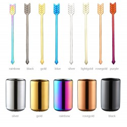 Stainless steel cocktail forks with a storage cup 9 pieces set