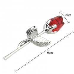 Crystal rose with metal rod