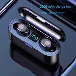 V5.0 F9 TWS kabelloser Bluetooth-Kopfhörer - LED-Anzeige - 2000mAh Power Bank - Headset mit Mikrofon