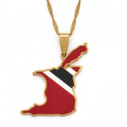 Trinidad & Tobago map flag pendant - gold necklace