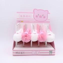 Gel pen with plush flamingo & pig & sheep