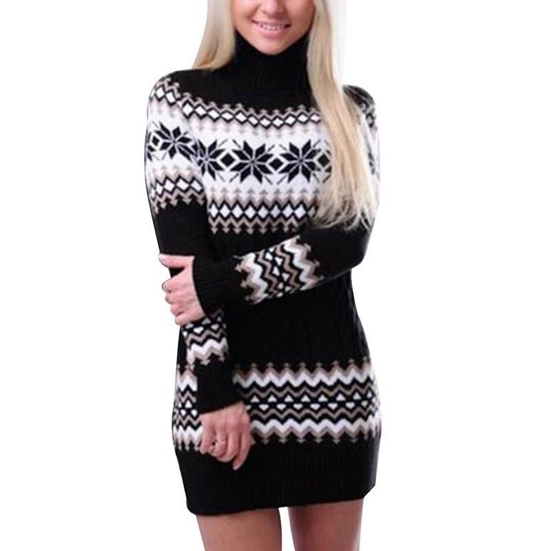 Winter long sweater - mini dress with turtleneck