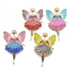 Kristallen vliegende engel - broche