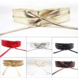 Wide self tie belt - soft leather
