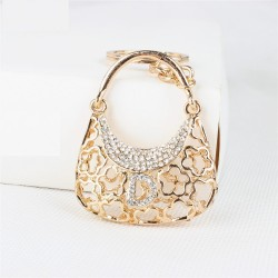 Crystal handbag with D letter - keychain