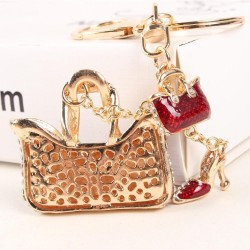 Two crystal red bags & high-heeled shoe - keychain