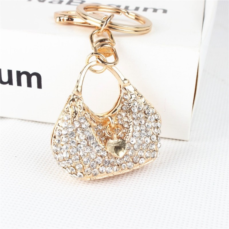 Crystal handbag with a heart - keychain
