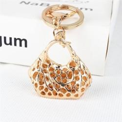 Crystal handbag with a heart - keychain