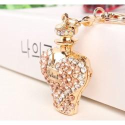 Gold crystal perfume bottle - keychain