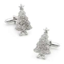 Cufflinks with a silver Christmas tree