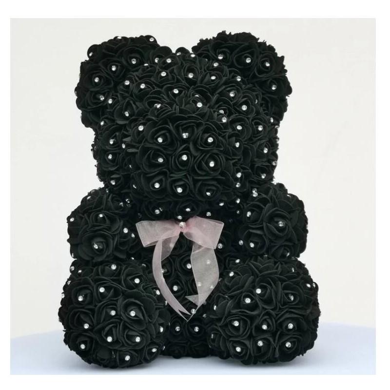 Rose bear - bear made of infinity roses with diamonds - 25 cm - 35 cm