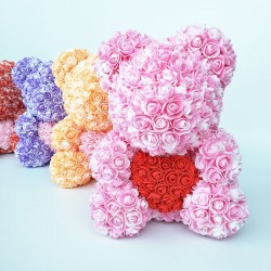 Rose bear - bear made from infinity roses with a heart - 25cm - 35cm