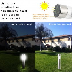 Stainless steel LED solar garden lamp - waterproof stick