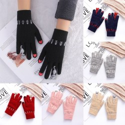 Knitted warm gloves with touch screen function