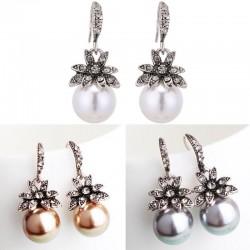 Vintage luxury earrings with crystal flower & pearl