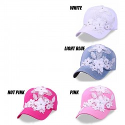 Cotton baseball cap with lace flowers & crystals