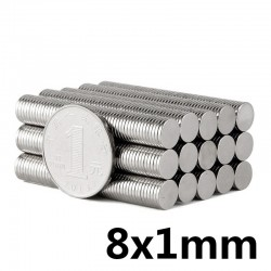 N52 Neodymium cylinder magnet 8 * 1mm 50 pieces