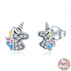 Silver earrings with crystal unicorn