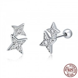 Double crystal stars - silver earrings