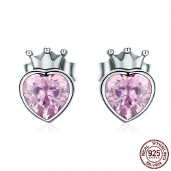 Pink crystal heart in crown - silver earrings