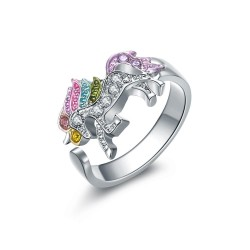 Crystal unicorn - silver & gold ring