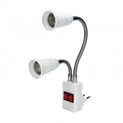 E27 - dubbele kop - flexibele lampvoet - converter - lamphouder