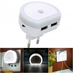 Wall socket plug with dual USB port charger & light sensor - Led