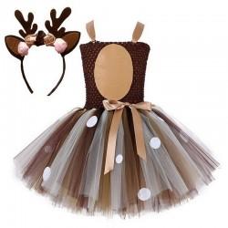 Weihnachtsmann Rentier - Mädchen Kostüm - Kleid - Set